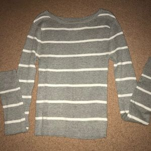 Aeropostale gray and white striped sweater